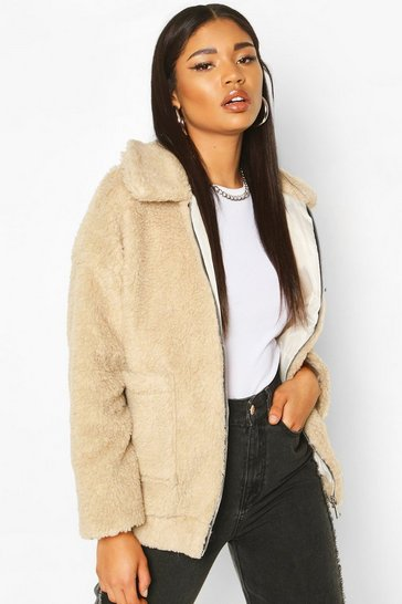 Womens Stone Faux Fur Teddy Trucker Jacket