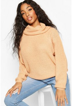 Cowl Roll Neck Oversized Jumper, Camel, ЖЕНСКОЕ