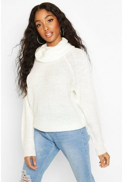 Cowl Roll Neck Oversized Jumper, Ivory