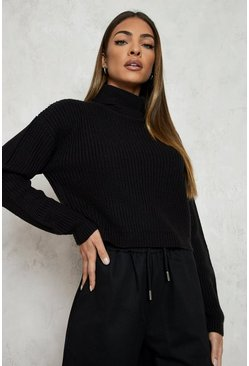 Cropped Fisherman Roll Neck Jumper, Black