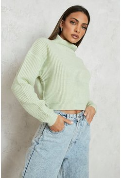 Cropped Fisherman Roll Neck Jumper, Sage