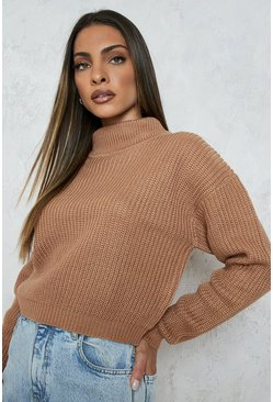 Cropped Fisherman Roll Neck Jumper, Toffee
