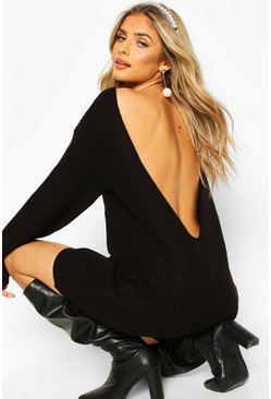 Black V Back Fisherman Oversized Dress