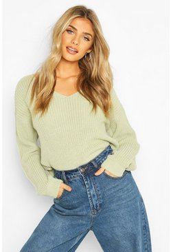 Sage Cropped Fisherman V Neck Jumper