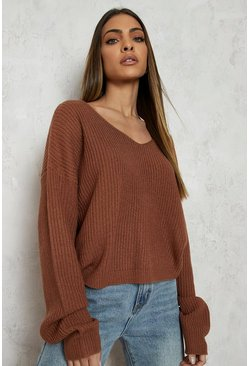 Toffee Cropped Fisherman V Neck Jumper