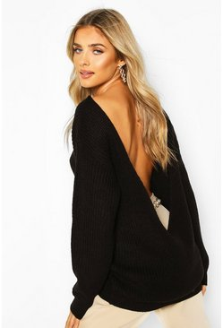 Black V Back Oversized Jumper