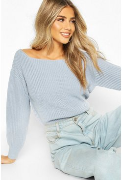 Dam Pastel blue Slash Neck Crop Fisherman Jumper