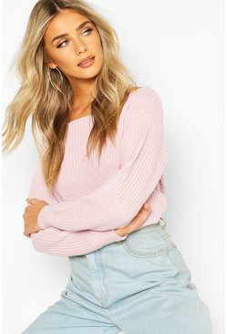 Pastel pink Slash Neck Crop Fisherman Jumper