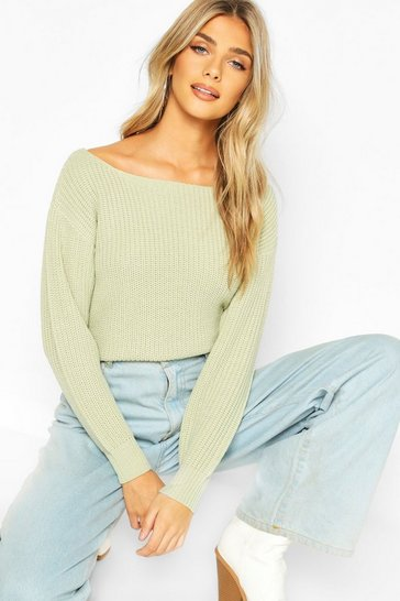 Womens Sage Slash Neck Crop Fisherman Jumper