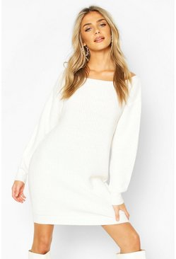 Cream Slash Neck Fisherman Jumper Dress