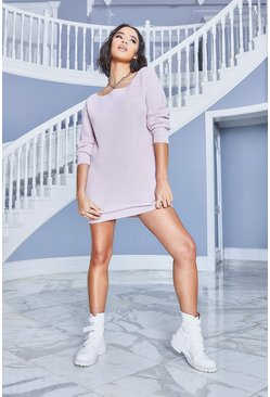 Pastel pink Slash Neck Fisherman Jumper Dress