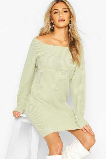 Sage Slash Neck Fisherman Jumper Dress