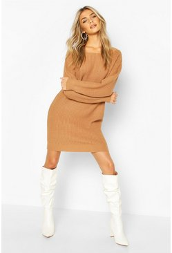 Toffee Slash Neck Fisherman Jumper Dress