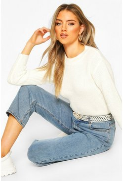 Cream Cropped Fisherman Jumper