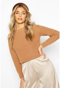 Toffee Cropped Fisherman Sweater