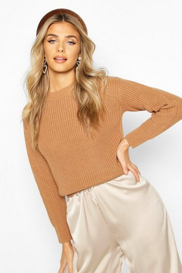 Toffee Cropped Fisherman Jumper