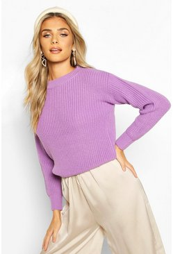 Violet Cropped Fisherman Jumper