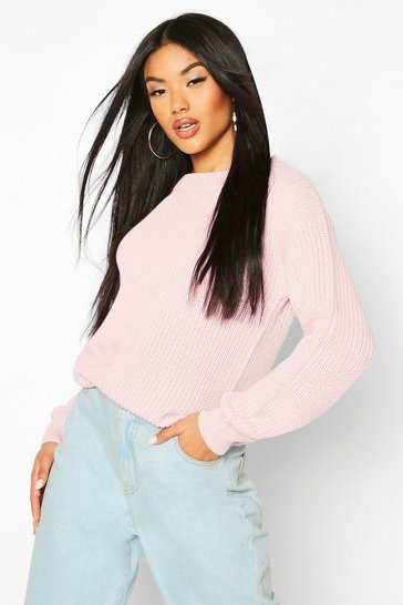 Pastel pink Fisherman Crew Neck Jumper