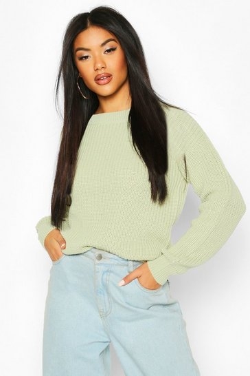 Sage Fisherman Crew Neck Jumper