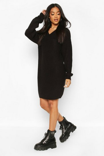 Black Fisherman V Neck Jumper Dress