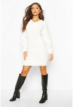 Cream Fisherman V Neck Sweater Dress