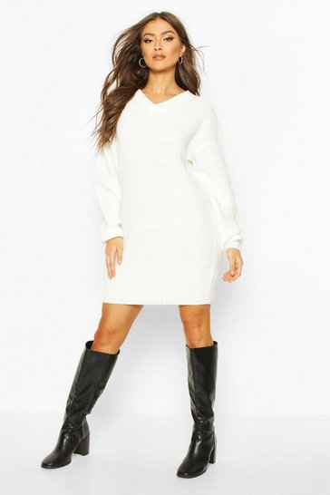 Cream Fisherman V Neck Jumper Dress