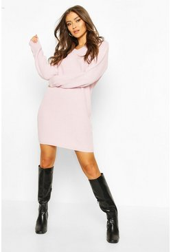 Pastel pink Fisherman V Neck Jumper Dress