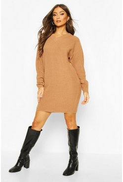 Toffee Fisherman V Neck Jumper Dress
