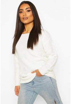 Cream Slash Neck Fisherman Jumper