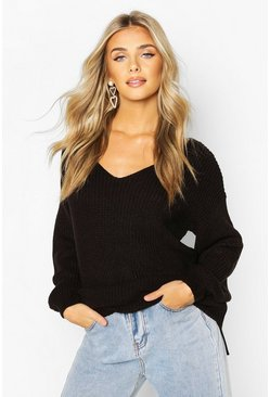 Black Oversized Fisherman V Neck Sweater