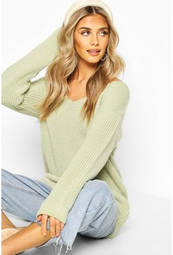 Sage Oversized Fisherman V Neck Jumper