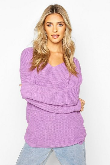 Violet Oversized Fisherman V Neck Jumper