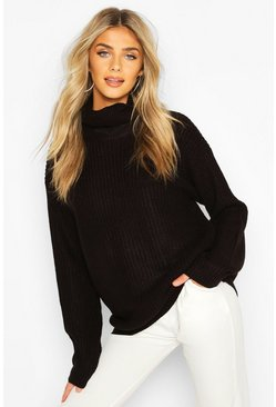 Dam Black Fisherman Roll Neck Jumper