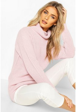 Pastel pink Fisherman Roll Neck Jumper