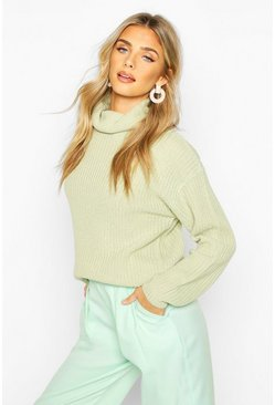 Sage Fisherman Roll Neck Jumper