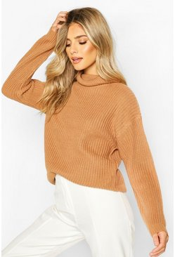 Toffee Fisherman Roll Neck Sweater