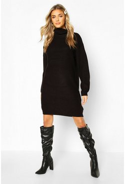 Black Roll Neck Fisherman Jumper Dress