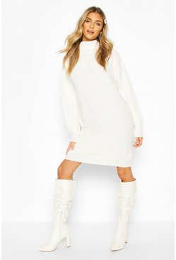 Cream Roll Neck Fisherman Jumper Dress