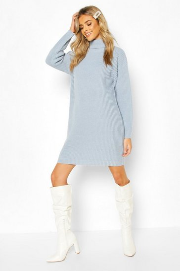 Pastel blue Roll Neck Fisherman Jumper Dress