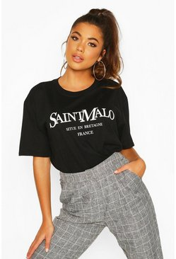 Womens Black Saint Malo Slogan T-Shirt