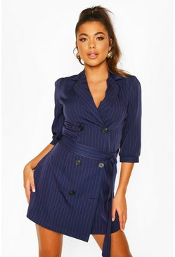 Womens Navy Puff Sleeve Blazer Dress