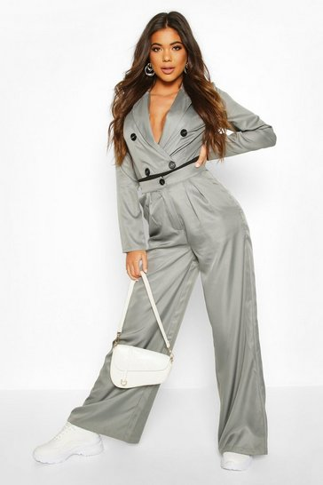 Womens Grey Blazer Bodysuit