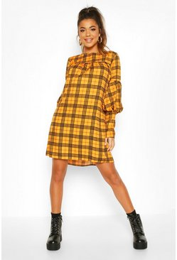 Volume Sleeve Smock Dress, Mustard, MUJER