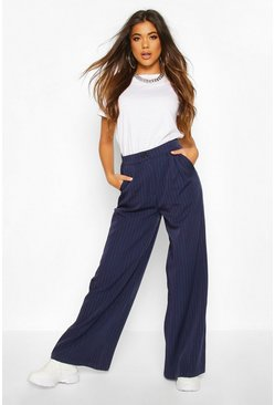 Womens Navy Relaxed Masculine Fit Trouser