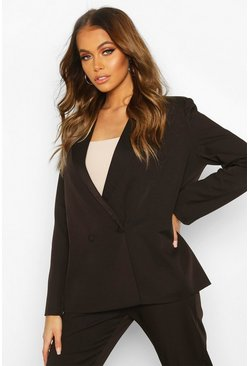 Womens Black Premium Double Breasted Blazer