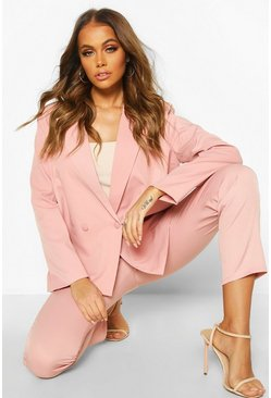 Womens Pink Premium Double Breasted Blazer