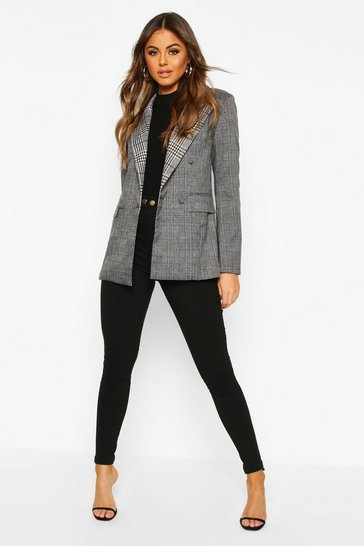 Grey Contrast Check Double Breasted Blazer