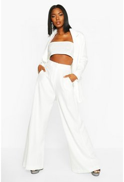 Ivory Premium Tailored Wide Leg Trouser