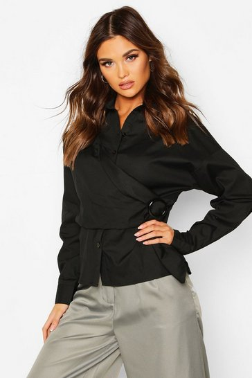 Womens Black Woven Buckle Wrap Detail Shirt Blouse