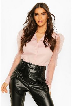 Blush Organza Puffed Sleeve Shirt